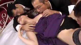 Filthy Asian whore fits three dicks in her mouth