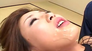 Perverted group sex with Asian girl covered in food