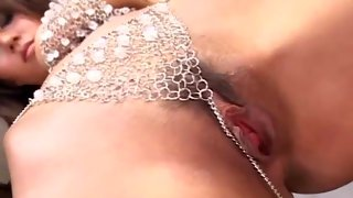 Smoking hot Japanese model in toying action