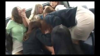 Asian skank gets groped by many lesbians