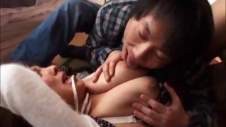 Perverted guy toying tied up Asian chick