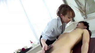 Horny Asian girl titfucked in a wild 69