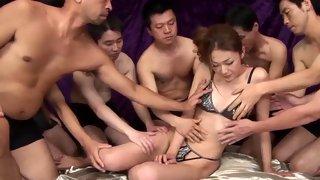Cock loving Asian brunette gets gangbanged