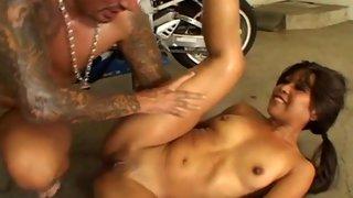Horny Asian slut has her tight cunt fucked