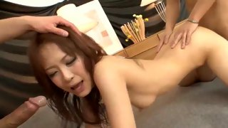 Horny Asian bitch gets touched by multiple guys