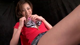 Cute Asian teen teased with a vibe