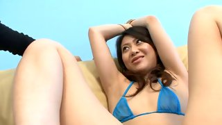 Slutty Asian girl getting her clit teased