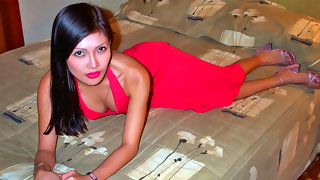 Sexy Filipina slut gets naked on the bed