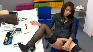 Horny Asian office lady teasing her cunt