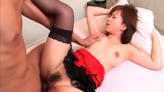 Depraved Asian bitch teased on the bed