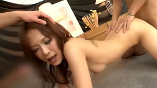Busty Asian girl fingered and toyed with a vibrator