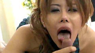 Japanese whore licks a big hard dick