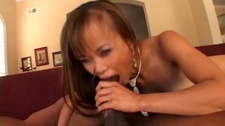 Crazy Asian girl rides on a massive black cock