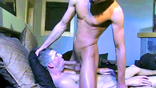 Foxy gay man got his tight butt pounded roughly on the bed