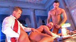 Strong gay hunk got his ass pounded by two hung students