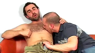 Handsome bearded gay bloke fucks with his blonde parnter