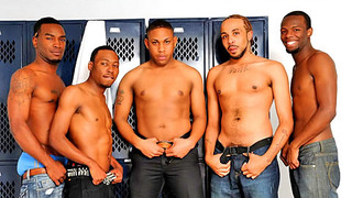Horny nasty black thugs have amazing group sex in locker room