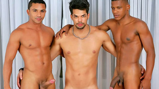Three hung gay men have amazing anal sex together