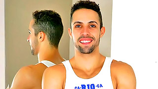 Strong handsome gay bloke shows us his amazing body