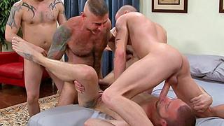 Horny tattooed gay blokes have hardcore wild sex