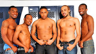 Handsome black studs fuck passionately in the locker room
