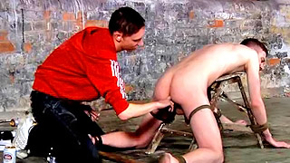Kinky gay bloke gets his butt fisted hard from behind