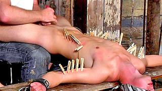 Blindfolded gay bloke got tortured and fucked