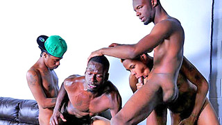 Four handsome black studs have amazing group sex
