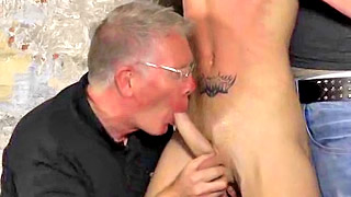 Strong kinky gay bloke fucks with his two older masters