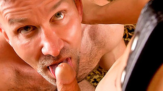Bearded gay bloke gives his lover a deep warm blowjob