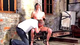 Handsome brunette gay dude got tortured by older man