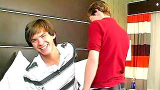 Cute teen gay dude gives his lover a deep warm blowjob