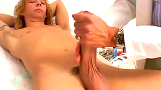 Good looking blonde gay dude got his ass fingered by his doctor