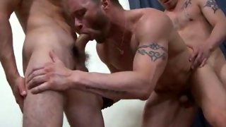 Crazy orgy with 9 guys fucking each other
