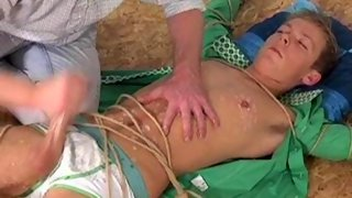 Lovely blonde dude gets tied up