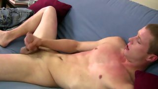 Sweet blonde dude moans while wanking cock