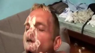 Blonde bare skinned guy moans while nailed