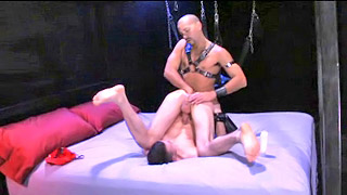 Kinky gay stud gets his shaved asshole abused