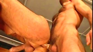 Delicious hairy dude gets drilled on bed