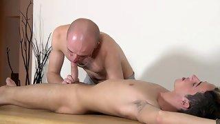 Fabulous bald skinny guy gives head