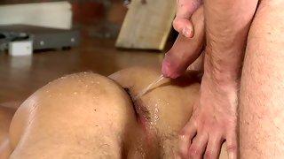 Alluring bare skinned guy gets his asshole fingered