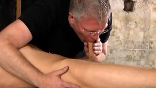 Alluring blonde haired twink gets blind folded