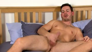 Fabulous hairy bloke plays with his cock