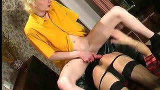 Blonde cd slut on her knees giving head