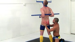 Tattooed short haired dude gets his ass spanked