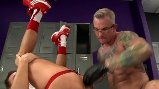 Delicious dude in locker room gets anal prolapse
