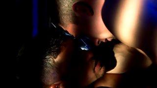 Gorgeous hairy stud kissing his new boyfriend