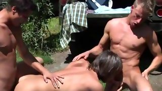 Skinny dude gets his dick sucked outdoors