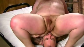 Cute bearded hairy dude gets ready to suck