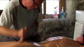 Nice naked dude gets his cock wanked